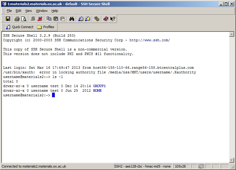 SecureShell line command